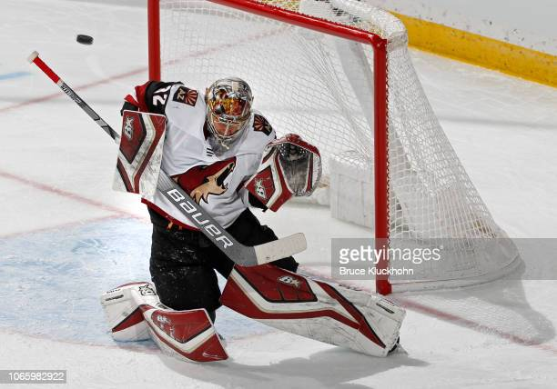 Antti Raanta of the Arizona Coyotes makes a save during a game with the Minnesota Wild at Xcel Energy Center on November 27 2018 in St Paul Minnesota
