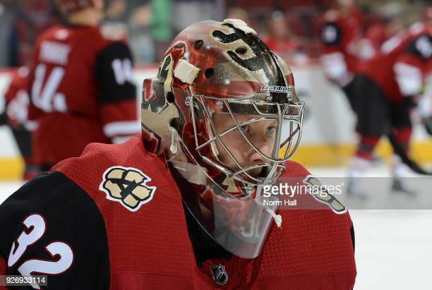 Antti Raanta of the Arizona Coyotes prepares for a game against the Minnesota Wild at Gila River Arena on March 1 2018 in Glendale Arizona