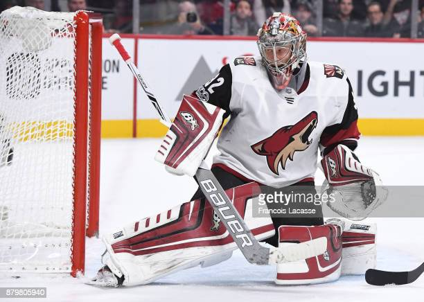 Antti Raanta of the Arizona Coyotes protects the net against the Montreal Canadiens in the NHL game at the Bell Centre on November 16 2017 in...