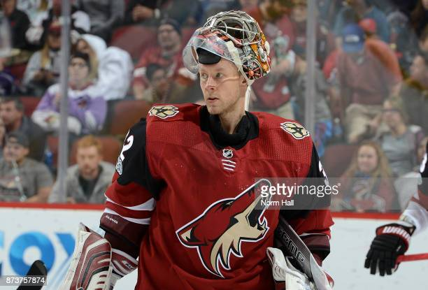 Antti Raanta of the Arizona Coyotes skates to the bench during a stop in play against the Winnipeg Jets at Gila River Arena on November 11 2017 in...