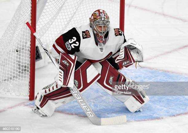 Antti Raanta of the Arizona Coyotes tends net against the Vegas Golden Knights during the Golden Knights' inaugural regularseason home opener at...