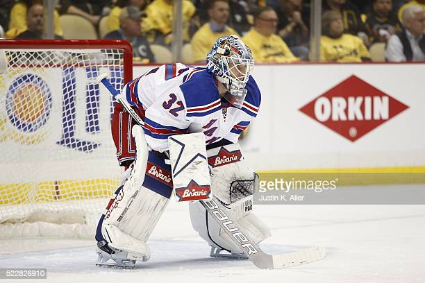 Antti Raanta of the New York Rangers in action in Game One of the Eastern Conference First Round during the 2016 NHL Stanley Cup Playoffs against the...