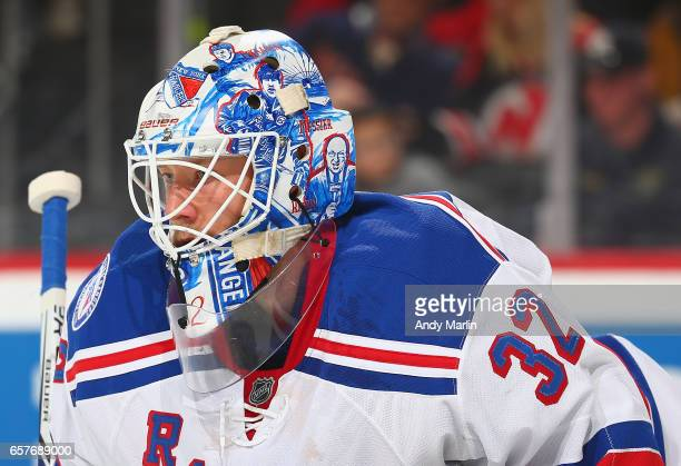 Antti Raanta of the New York Rangers looks on during the game against the New Jersey Devils during the game at Prudential Center on March 21 2017 in...