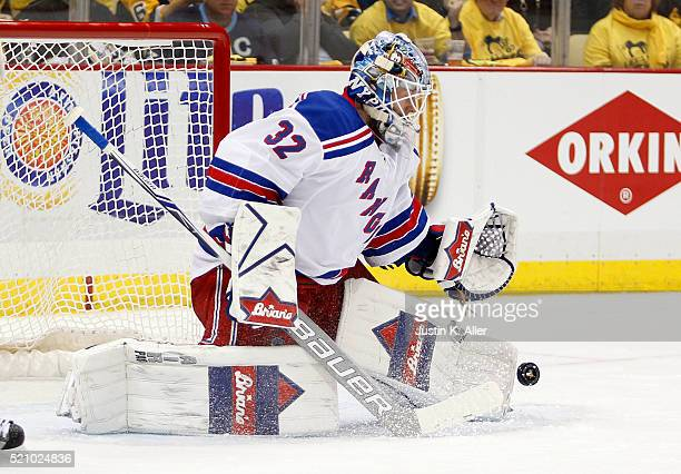Antti Raanta of the New York Rangers makes a save against the Pittsburgh Penguins in Game One of the Eastern Conference Quarterfinals during the 2016...