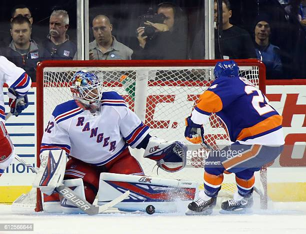 Antti Raanta of the New York Rangers makes the first period save on Stpehn Gionta of the New York Islanders at the Barclays Center on October 4 2016...