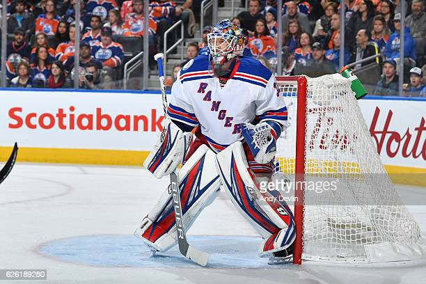 Antti Raanta of the New York Rangers prepares to make a save during the game against the Edmonton Oilers on November 13 2016 at Rogers Place in...