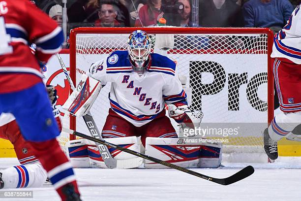 Antti Raanta of the New York Rangers remains focused during the NHL game against the Montreal Canadiens at the Bell Centre on January 14 2017 in...