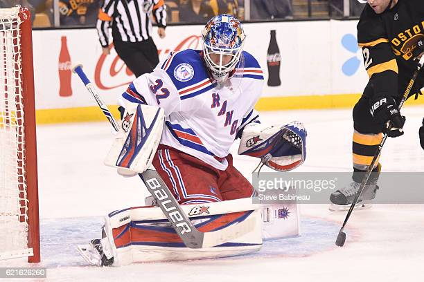 Antti Raanta of the New York Rangers skates against the Boston Bruins at the TD Garden on November 5 2016 in Boston Massachusetts