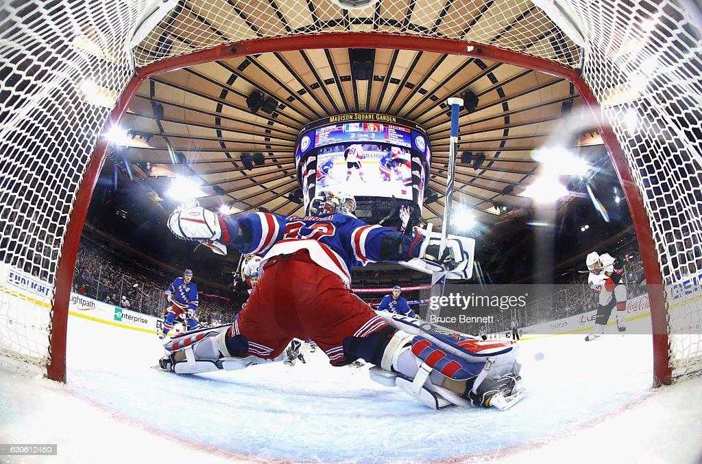 Antti Raanta #32 of the New York Rangers skates against the Ottawa Senators at Madison Square Garden on December 27, 2016 in New York City. The Rangers defeated the Senators 4-3.