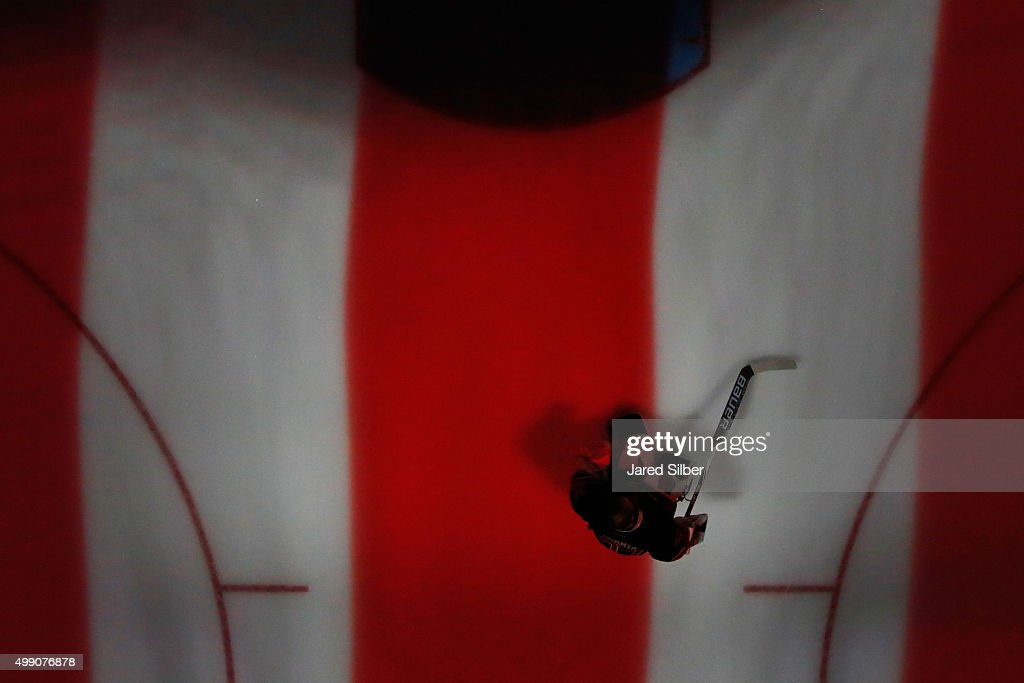 Antti Raanta #32 of the New York Rangers skates back to the net after the singing of the national anthem prior to the game against the Philadelphia Flyers at Madison Square Garden on November 28, 2015 in New York City.