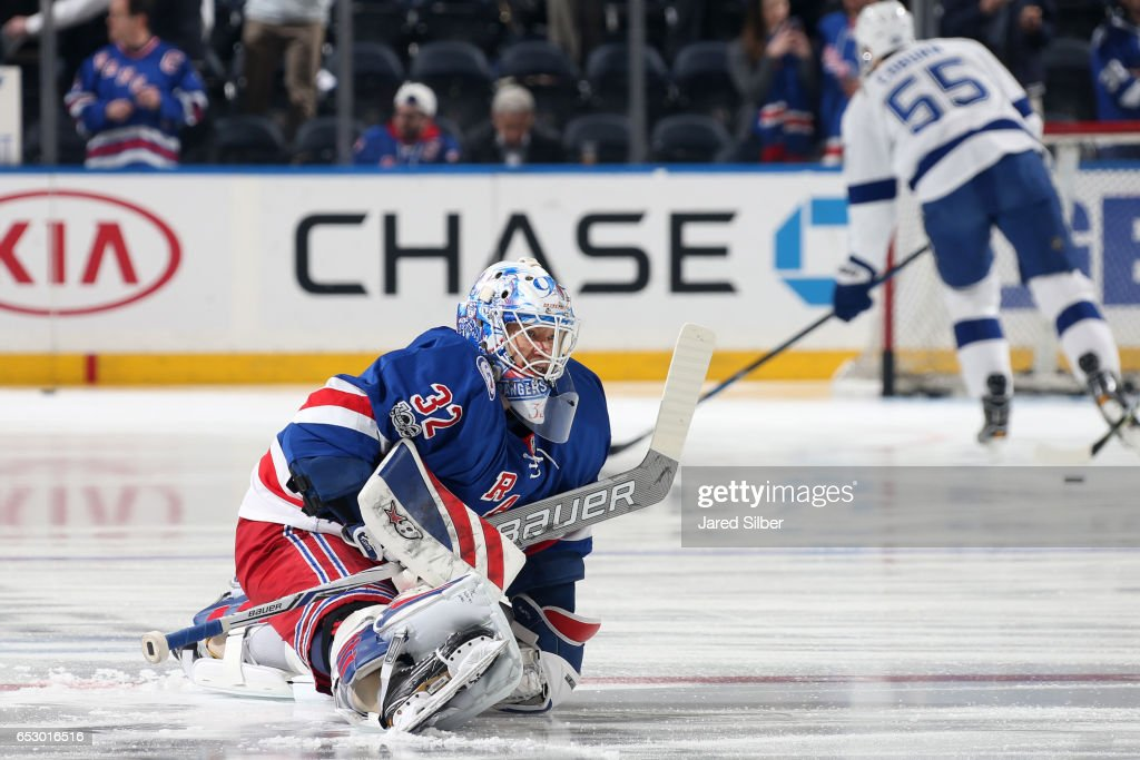 Antti Raanta #32 of the New York Rangers stretches during pregame warmups before the game against the Tampa Bay Lightning at Madison Square Garden on March 13, 2017 in New York City.