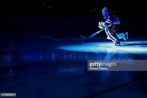 Antti Raanta of the New York Rangers takes the ice prior to the game against the Tampa Bay Lightning at Madison Square Garden on October 30 2016 in...