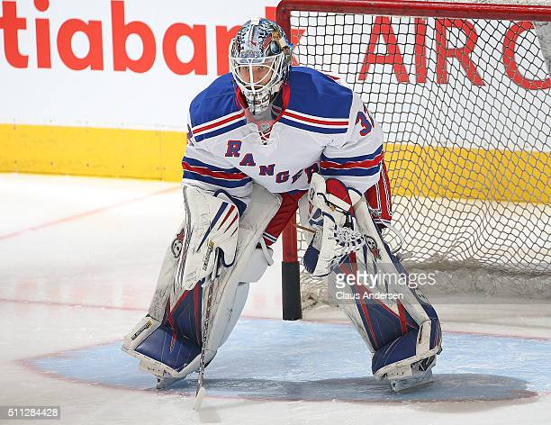 Antti Raanta of the New York Rangers waits to face a shot in the warmup prior to play against the Toronto Maple Leafs in an NHL game at the Air...