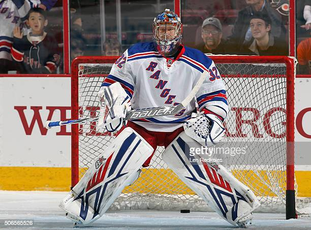 Antti Raanta of the New York Rangers warms up prior to his game against the Philadelphia Flyers on January 16 2016 at the Wells Fargo Center in...