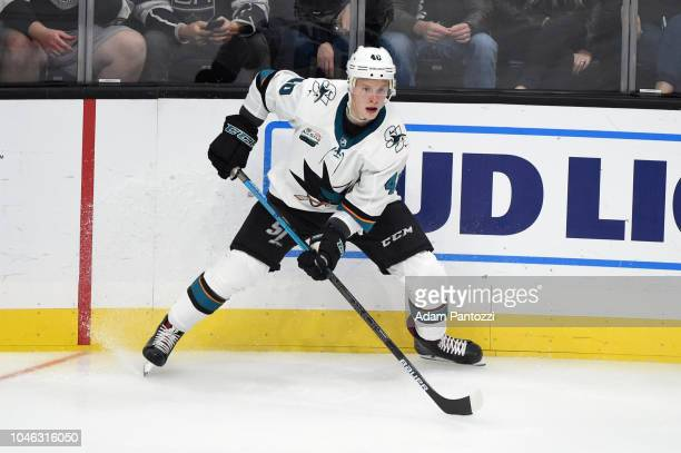 Antti Suomela of the San Jose Sharks handles the puck during a game against the Los Angeles Kings at STAPLES Center on October 5 2018 in Los Angeles...