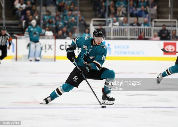 Antti Suomela of the San Jose Sharks in action against the Anaheim Ducks at SAP Center on October 3 2018 in San Jose California