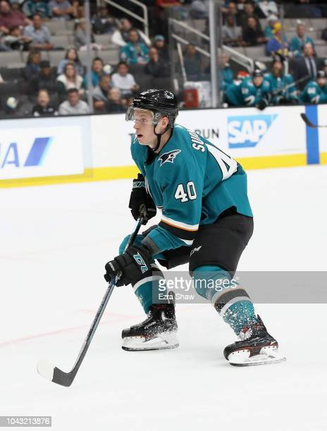Antti Suomela of the San Jose Sharks in action during their preseason game against the Calgary Flames at SAP Center on September 27 2018 in San Jose...