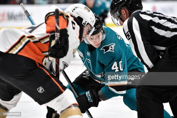 Antti Suomela of the San Jose Sharks prepares for the faceoff against Nate Guenin of the Anaheim Ducks at SAP Center on October 3 2018 in San Jose...