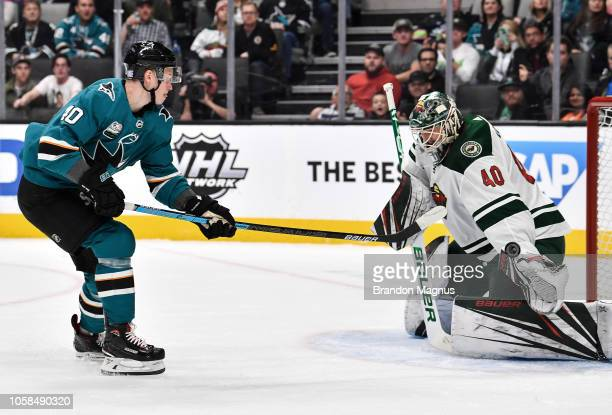 Antti Suomela of the San Jose Sharks scores a goal against the Minnesota Wild at SAP Center on November 6 2018 in San Jose California