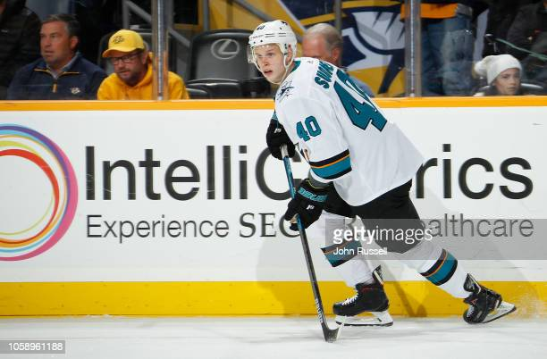 Antti Suomela of the San Jose Sharks skates against the Nashville Predators at Bridgestone Arena on October 23 2018 in Nashville Tennessee