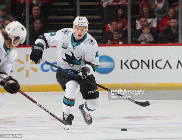 Antti Suomela of the San Jose Sharks skates against the New Jersey Devils at the Prudential Center on October 14 2018 in Newark New Jersey The Devils...