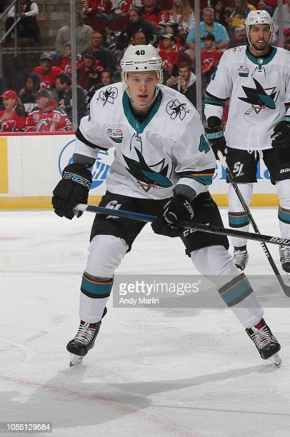 Antti Suomela of the San Jose Sharks skates against the New Jersey Devils during the game at Prudential Center on October 14 2018 in Newark New Jersey