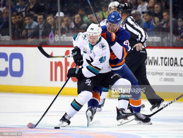 Antti Suomela of the San Jose Sharks skates against the New York Islanders at the Barclays Center on October 08 2018 in the Brooklyn borough of New...