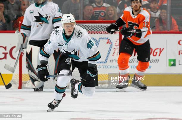 Antti Suomela of the San Jose Sharks skates against the Philadelphia Flyers on October 9 2018 at the Wells Fargo Center in Philadelphia Pennsylvania