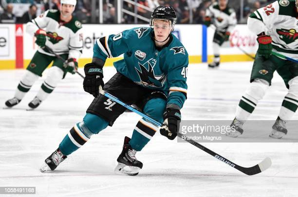 Antti Suomela of the San Jose Sharks skates ahead for the puck against the Minnesota Wild at SAP Center on November 6 2018 in San Jose California