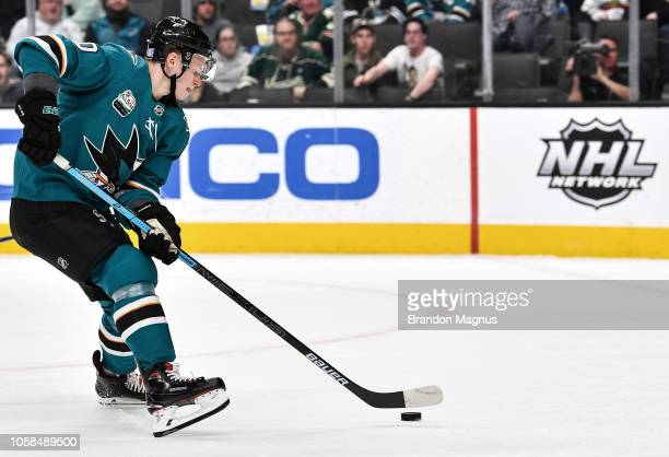 Antti Suomela of the San Jose Sharks skates in for a goal against the Minnesota Wild at SAP Center on November 6 2018 in San Jose California