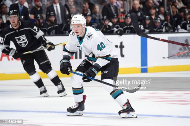 Antti Suomela of the San Jose Sharks skates on ice during a game against the Los Angeles Kings at STAPLES Center on October 5 2018 in Los Angeles...