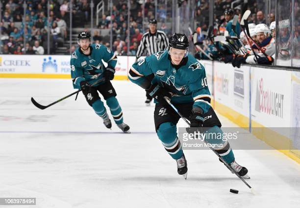 Antti Suomela of the San Jose Sharks skating the puck ahead against the Edmonton Oilers at SAP Center on November 20 2018 in San Jose California