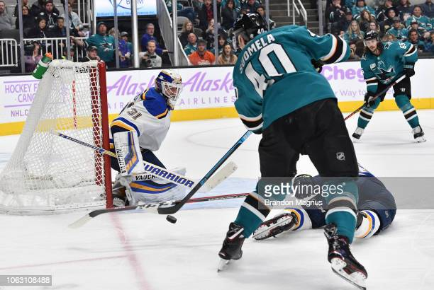 Antti Suomela of the San Jose Sharks takes a shot on Chad Johnson of the St Louis Blues at SAP Center on November 17 2018 in San Jose California
