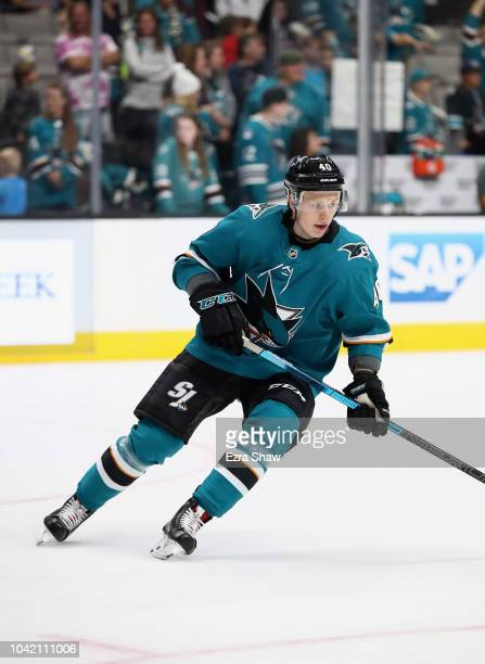 Antti Suomela of the San Jose Sharks warms up before their preseason game against the Calgary Flames at SAP Center on September 27 2018 in San Jose...