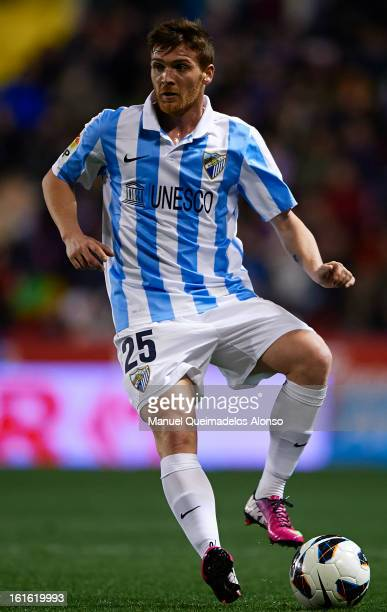 Antunes of Malaga controls the ball during the la Liga match between Levante UD and Malaga CF at Ciutat de Valencia on February 9 2013 in Valencia...