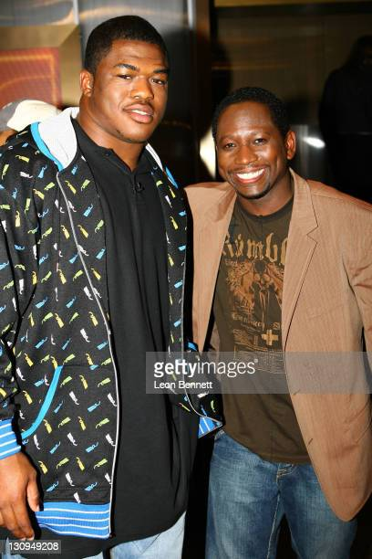 Antwan Barnes NFL Draft Prospect and Guy Torry during BET Presents 'BALLERS' April 24 2007 at Platinum Live in Studio City California United States