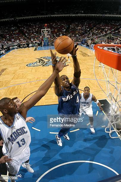 Antwan Jamison of the Washington Wizards rebounds against the Orlando Magic January 18 2006 at TD Waterhouse Centre in Orlando Florida NOTE TO USER...