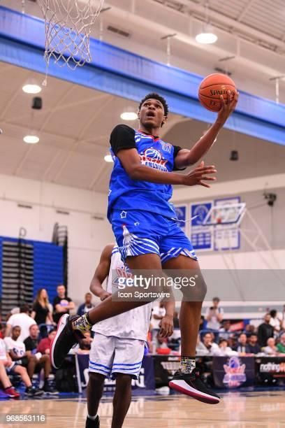 Antwan January from Santa Monica High School drives to the basket during the Pangos AllAmerican Camp on June 3 2018 at Cerritos College in Norwalk CA