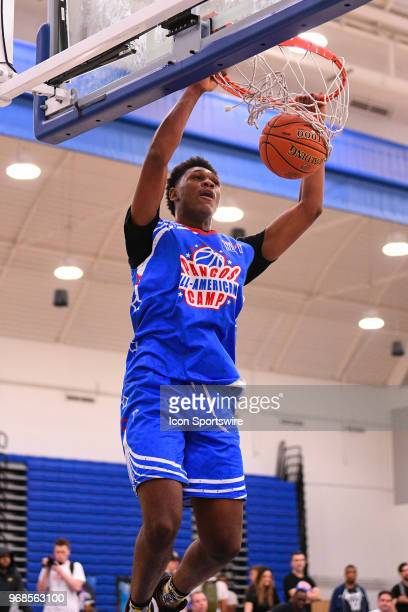 Antwan January from Santa Monica High School dunks the ball during the Pangos AllAmerican Camp on June 3 2018 at Cerritos College in Norwalk CA
