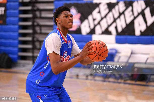 Antwan January from Santa Monica High School shoots a free throw during the Pangos AllAmerican Camp on June 3 2018 at Cerritos College in Norwalk CA