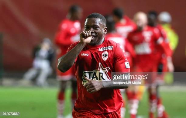 "Antwerp , Belgium / Royal Antwerp Fc v Kaa Gent / ""nStallone LIMBOMBE - Celebration""nFootball Jupiler Pro League 2017 - 2018 Matchday 23 / ""nPicture..."