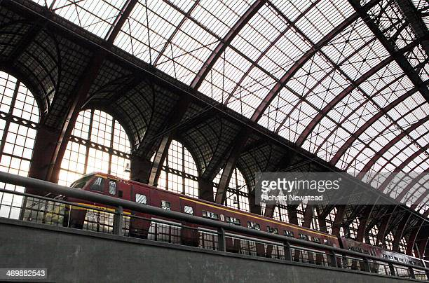 Antwerp Central station with stationary train. Antwerp,