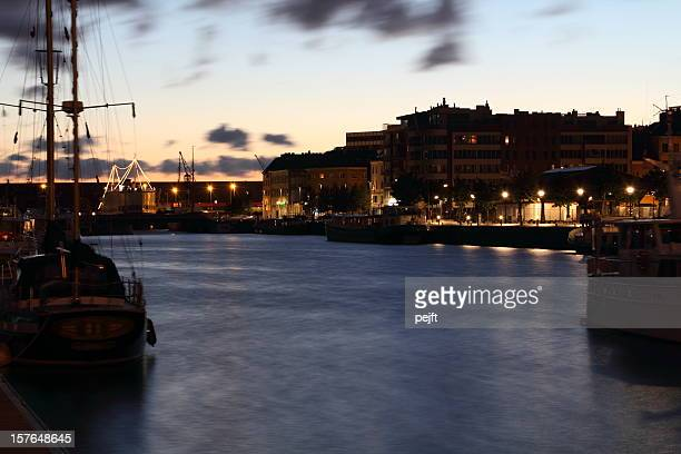 antwerp harbour at night - pejft stock pictures, royalty-free photos & images