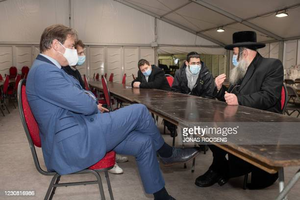 Antwerp Mayor Bart De Wever and Chief Rabbi of Machzikei Hadass Aaron Schiff pictured during a visit to the COVID-19 testing facility on the Spoor...