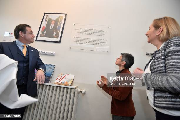 Antwerp Mayor Bart De Wever , Antwerp province governor Cathy Berx and French Ambassador to Belgium Helene Farnaud-Defromont attend the inauguration...