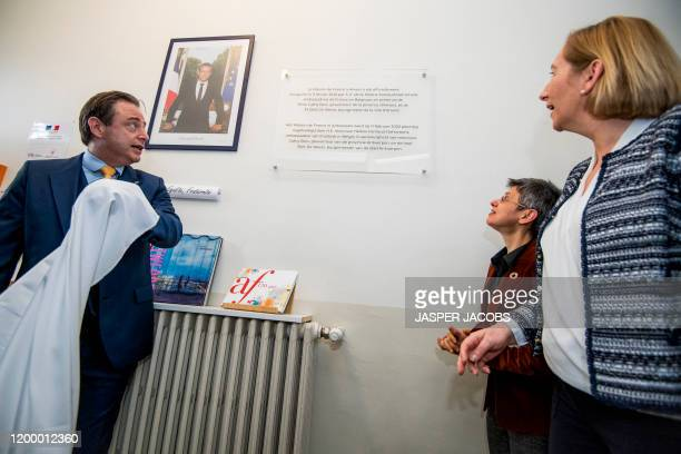 Antwerp Mayor Bart De Wever, Antwerp province governor Cathy Berx and French ambassador to Belgium Helene Farnaud-Defromont pictured during the...