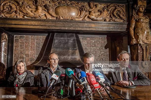 Antwerp Mayor Bart De Wever speaks as the father of Hodei Eliguz Diaz, the young man found dead on February 11 in Antwerp, Pablo Eliguz Diaz looks on...