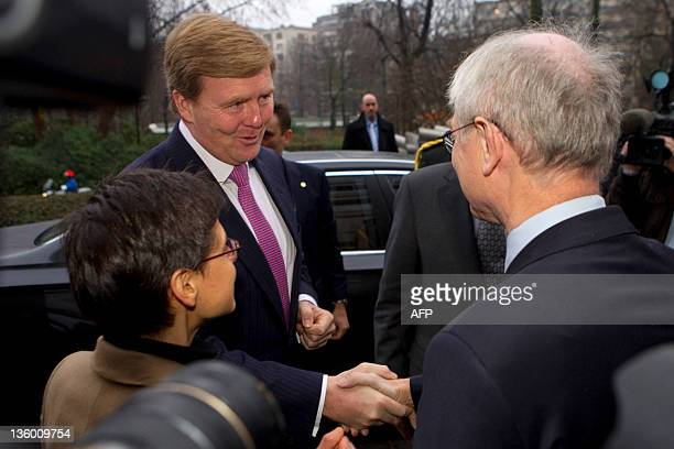 Antwerp province governor Cathy Berx and EU Council president Herman Van Rompuy welcome Dutch Crown Prince WillemAlexander as he arrives for a...