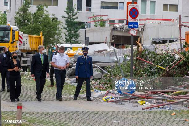 Antwerp province governor Cathy Berx and King Philippe - Filip of Belgium pictured at the site of a collapsed building at a construction site in the...