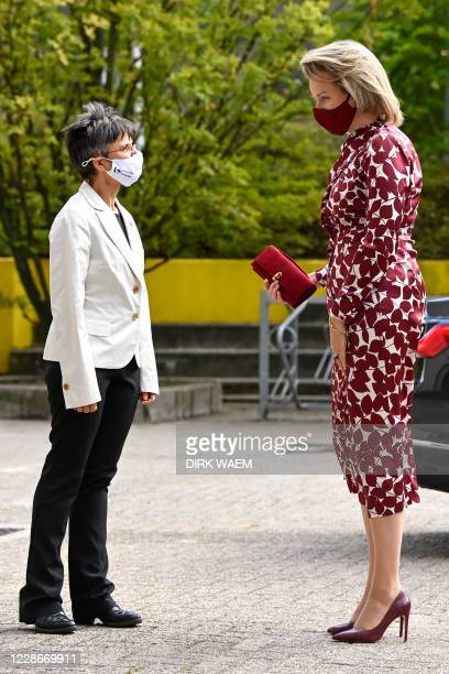 Antwerp province governor Cathy Berx and Queen Mathilde of Belgium pictured during a royal visit to the Center For Evaluation of Vaccines department...